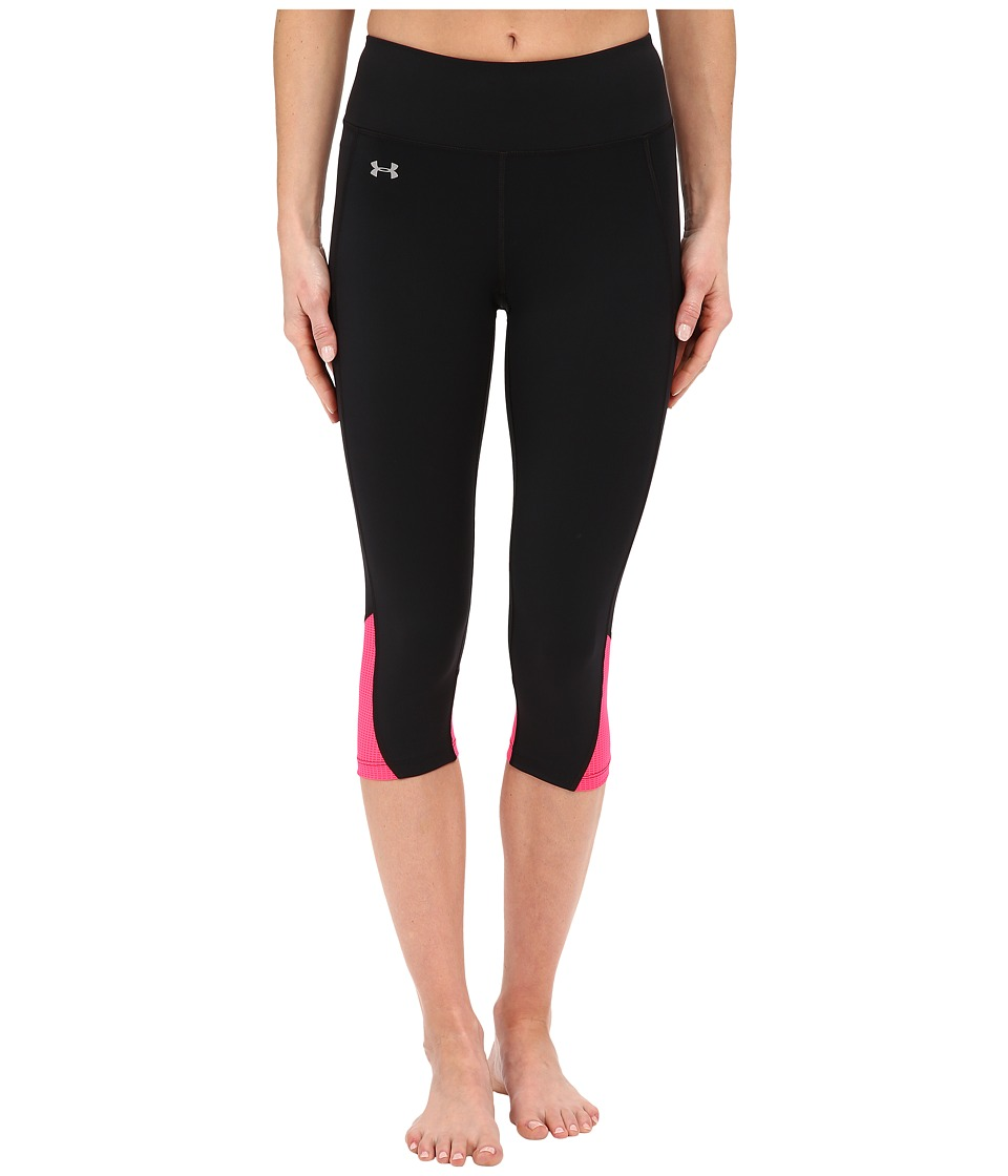 Under Armour - Fly By Run Capris (Black/Harmony Red/Reflective) Women's Capri