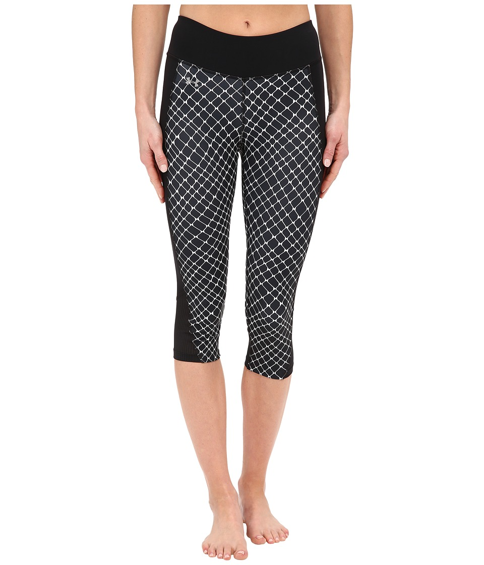 Under Armour Fly By Printed Run Capris (Black/Black/Reflective Warp Mesh) Women