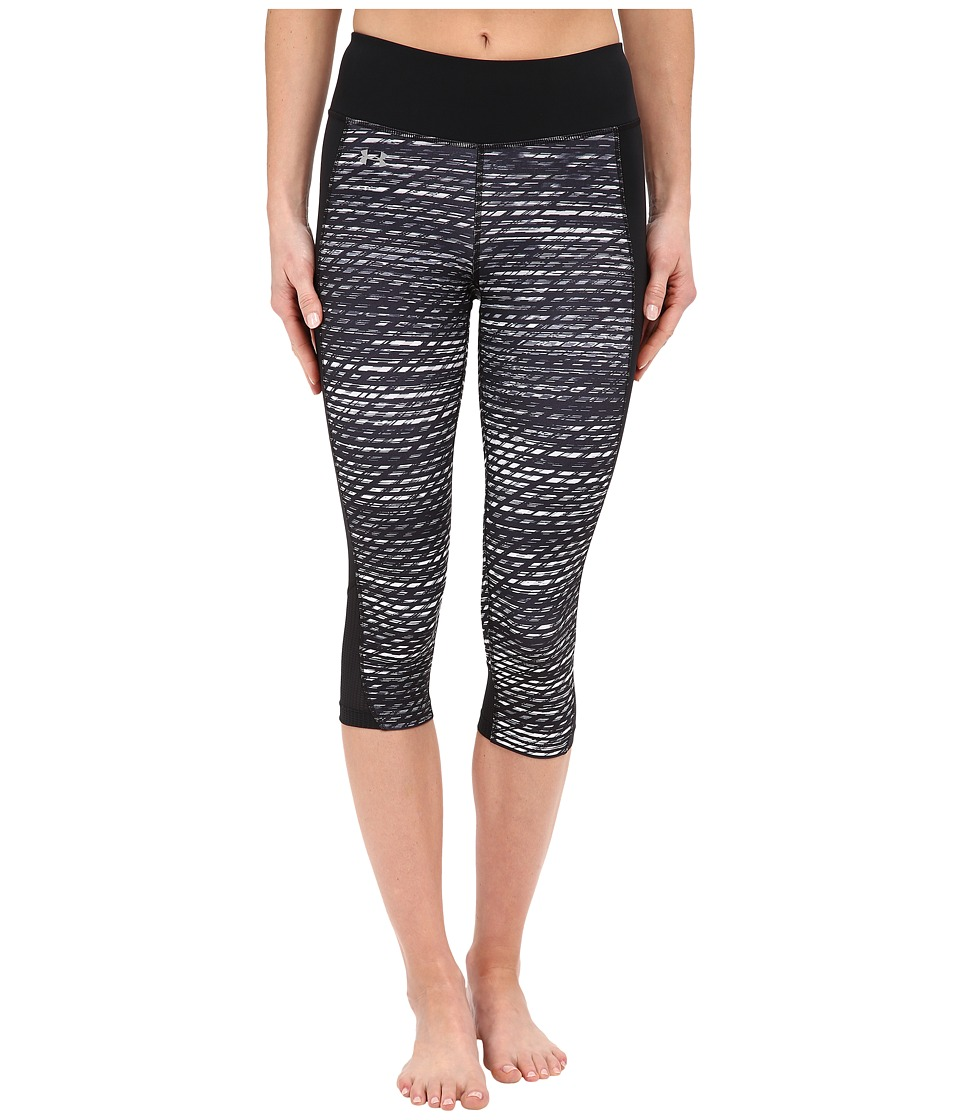 Under Armour - Fly By Printed Run Capris (Black/Black/Reflective Flash Grid) Women's Capri