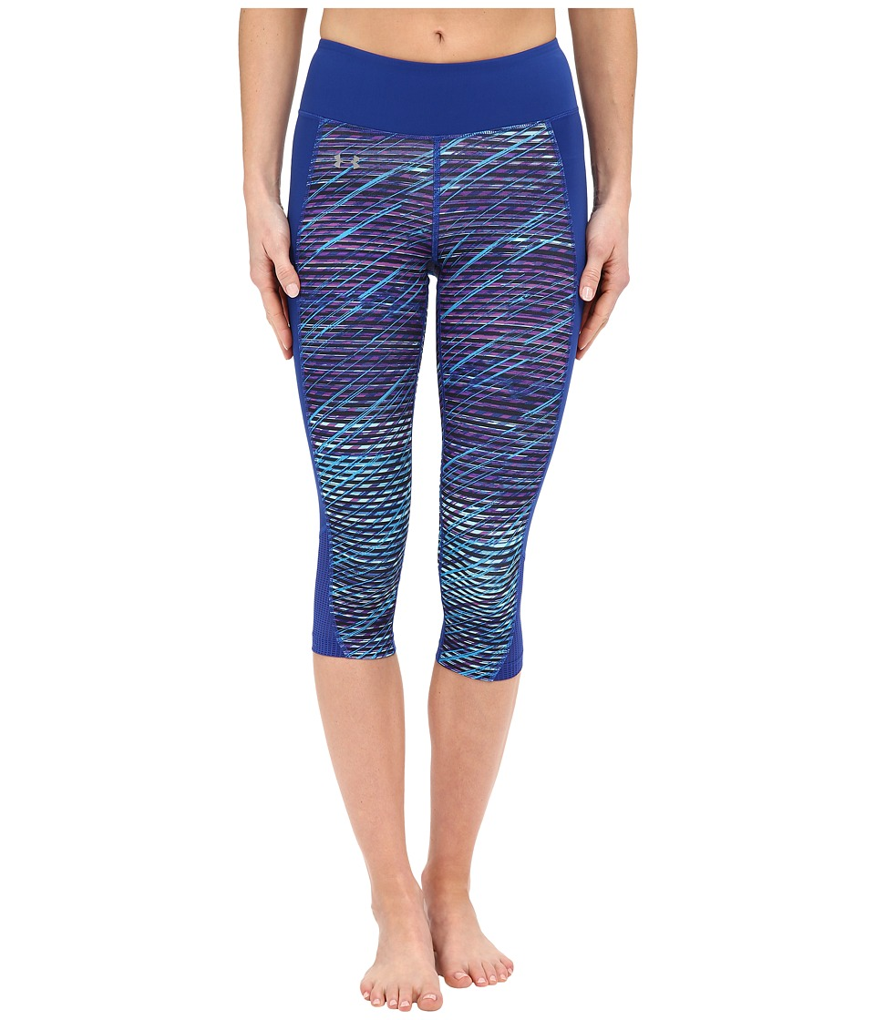 Under Armour - Fly By Printed Run Capris (Sky Blue/Cobalt/Reflective Flash Grid) Women's Capri