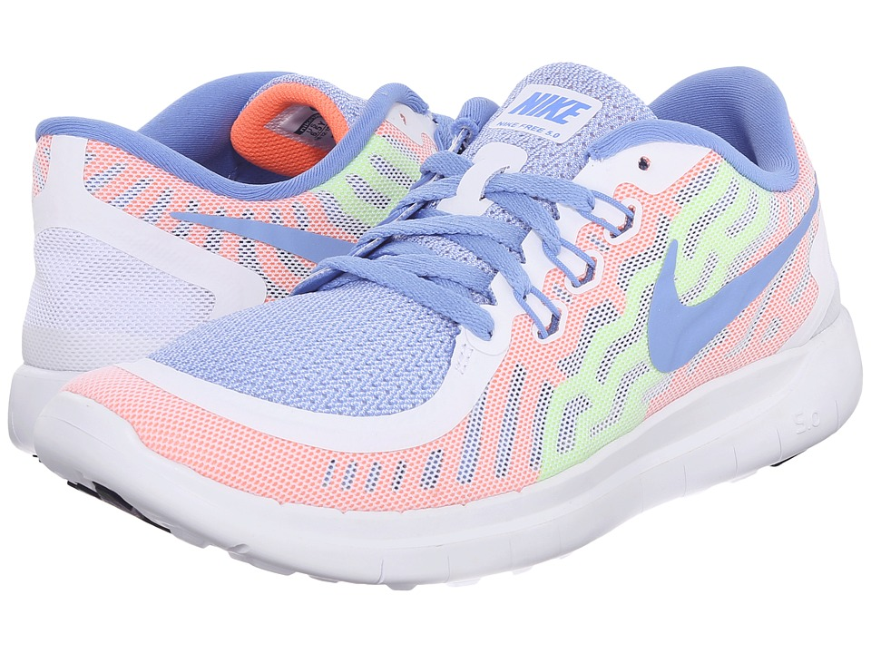 Nike Kids - Free 5.0 (Big Kid) (White/Volt/White/Chalk Blue) Girls Shoes