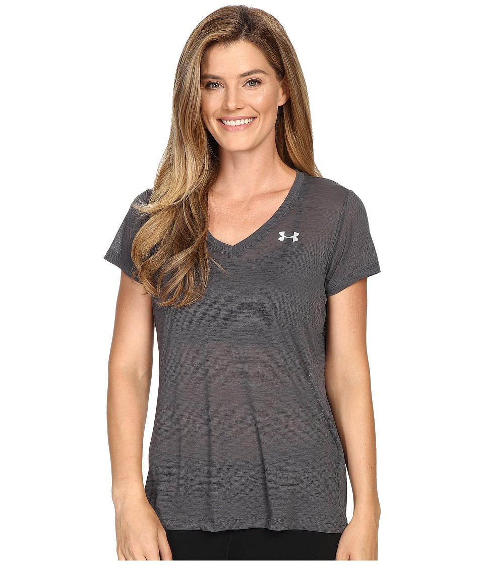 Under Armour - UA Slub Techtm V-Neck Tee (Phantom Gray/Metallic Silver) Women's T Shirt
