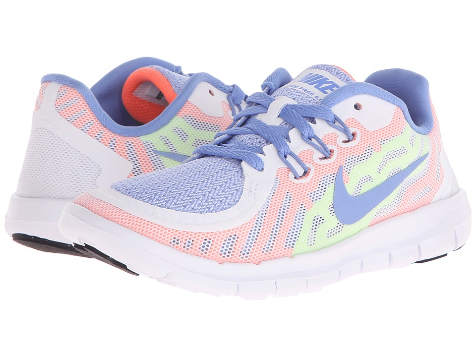 Nike Kids - Free 5 (Little Kid) (White/Volt/White/Chalk Blue) Girls Shoes