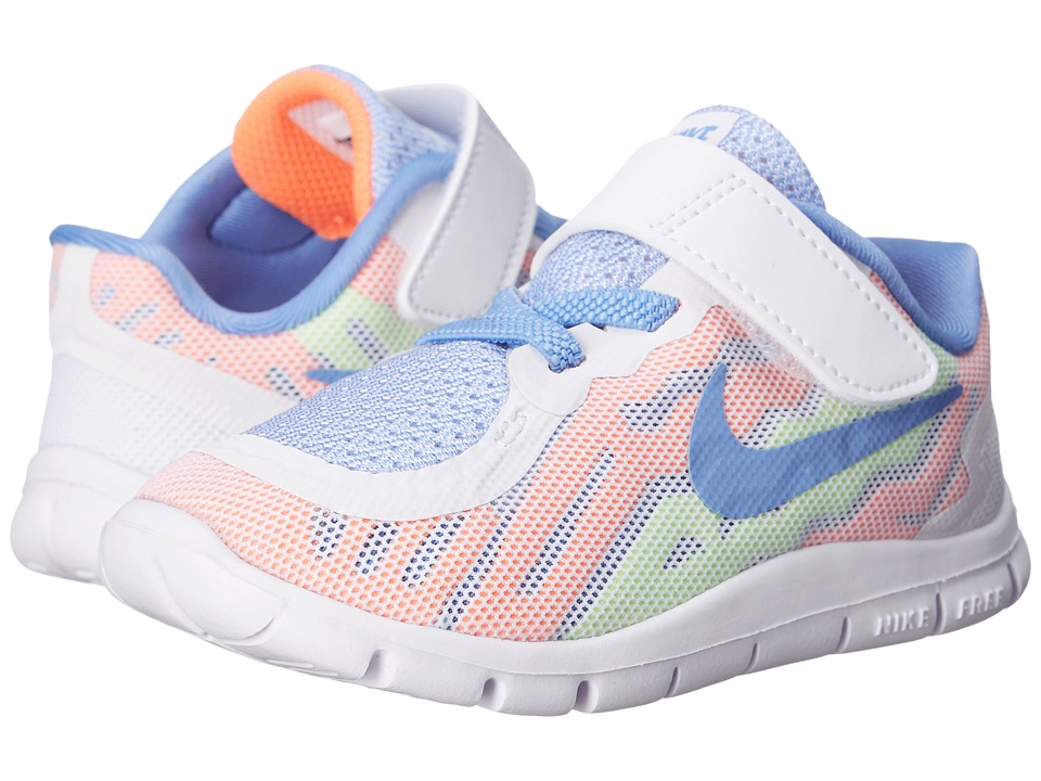 Nike Kids - Free 5 (Infant/Toddler) (White/Volt/White/Chalk Blue) Girls Shoes