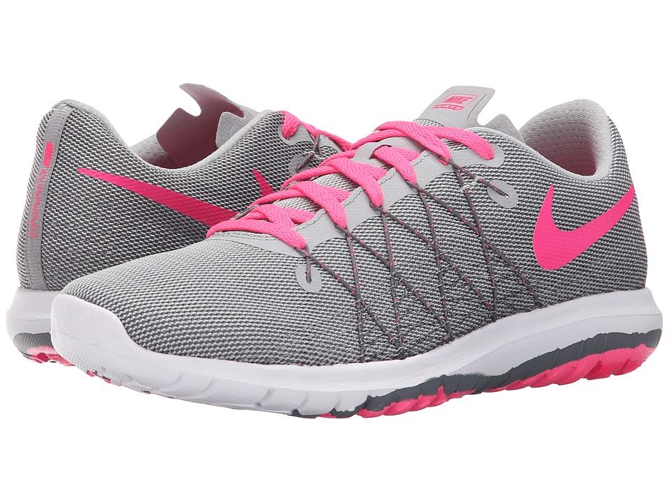 Nike Kids - Flex Fury 2 (Big Kid) (Wolf Grey/Dark Grey/White/Hyper Pink) Girls Shoes