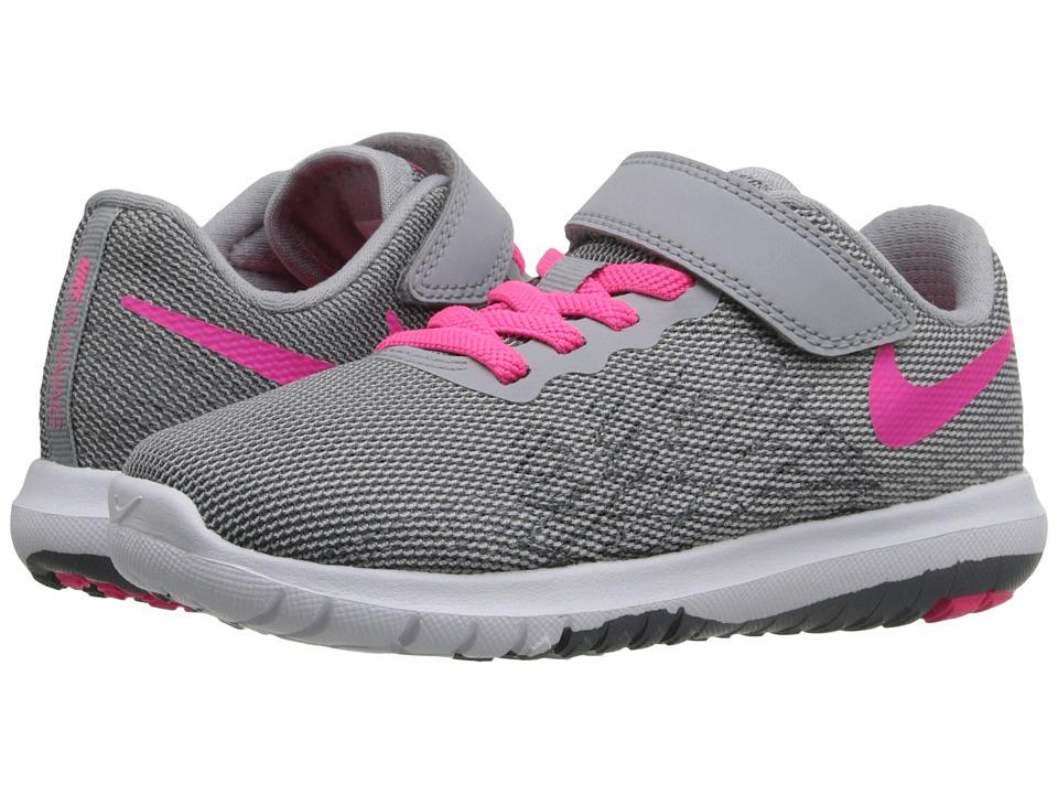 Nike Kids Flex Fury 2 (Little Kid) (Wolf Grey/Dark Grey/White/Hyper Pink) Girls Shoes