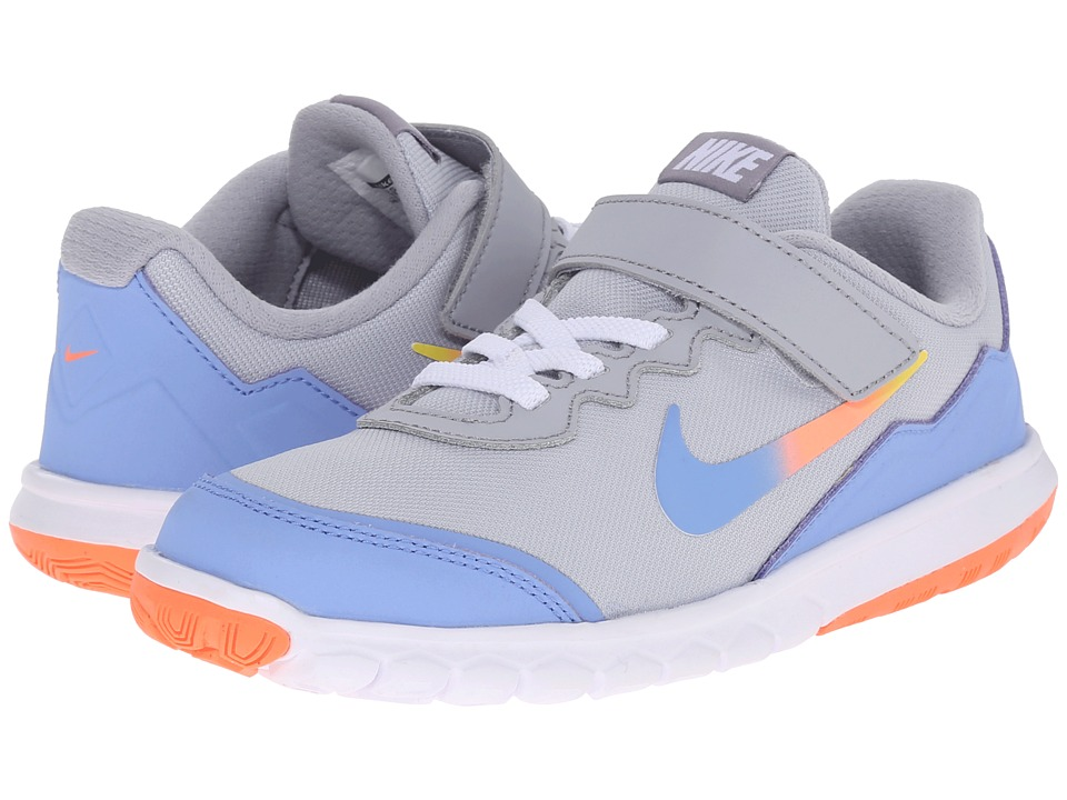 Nike Kids - Flex Experience 4 Print (Little Kid) (Wolf Grey/Bright Mango/Canary/Chalk Blue) Girls Shoes
