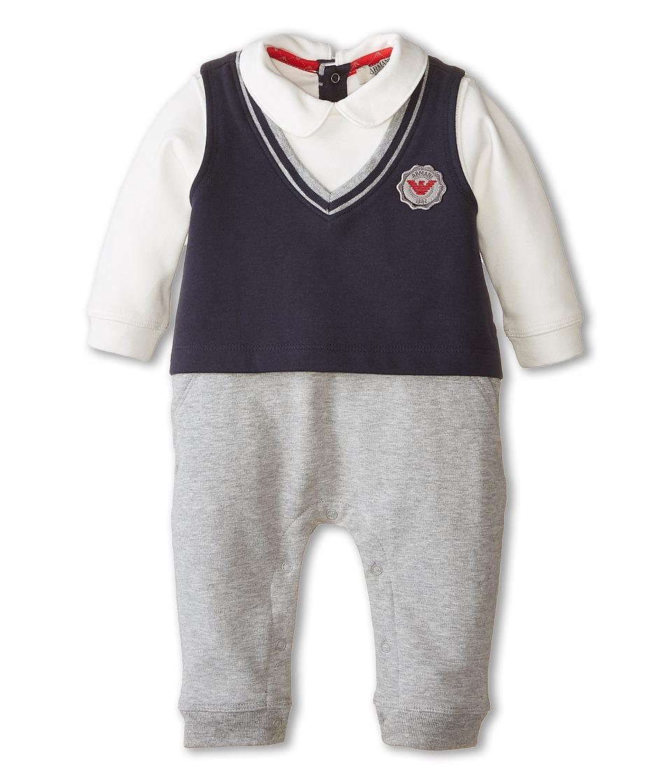 Armani Junior - Faux Removeable Tie w/ Vest Footie (Infant) (Black/Grey) Boy's Jumpsuit & Rompers One Piece