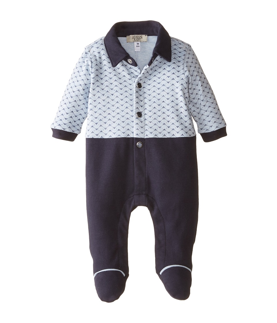 Armani Junior - All Over Logo Long Sleeve Footie w/ Pants (Infant) (Open Misc) Boy's Jumpsuit & Rompers One Piece