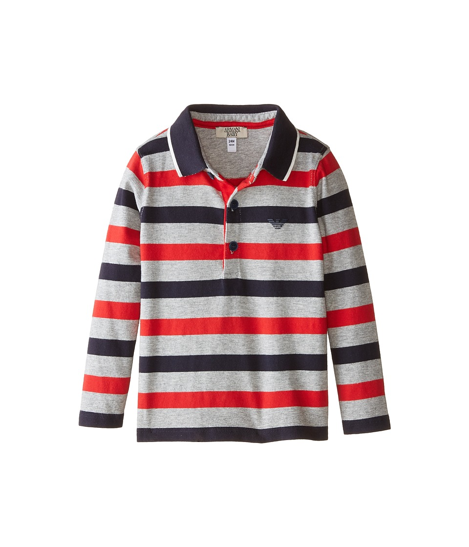 Armani Junior - Long Sleeve Stripe Polo Under Collar Contrast (Infant) (Navy/Red/Grey) Boy's Long Sleeve Pullover