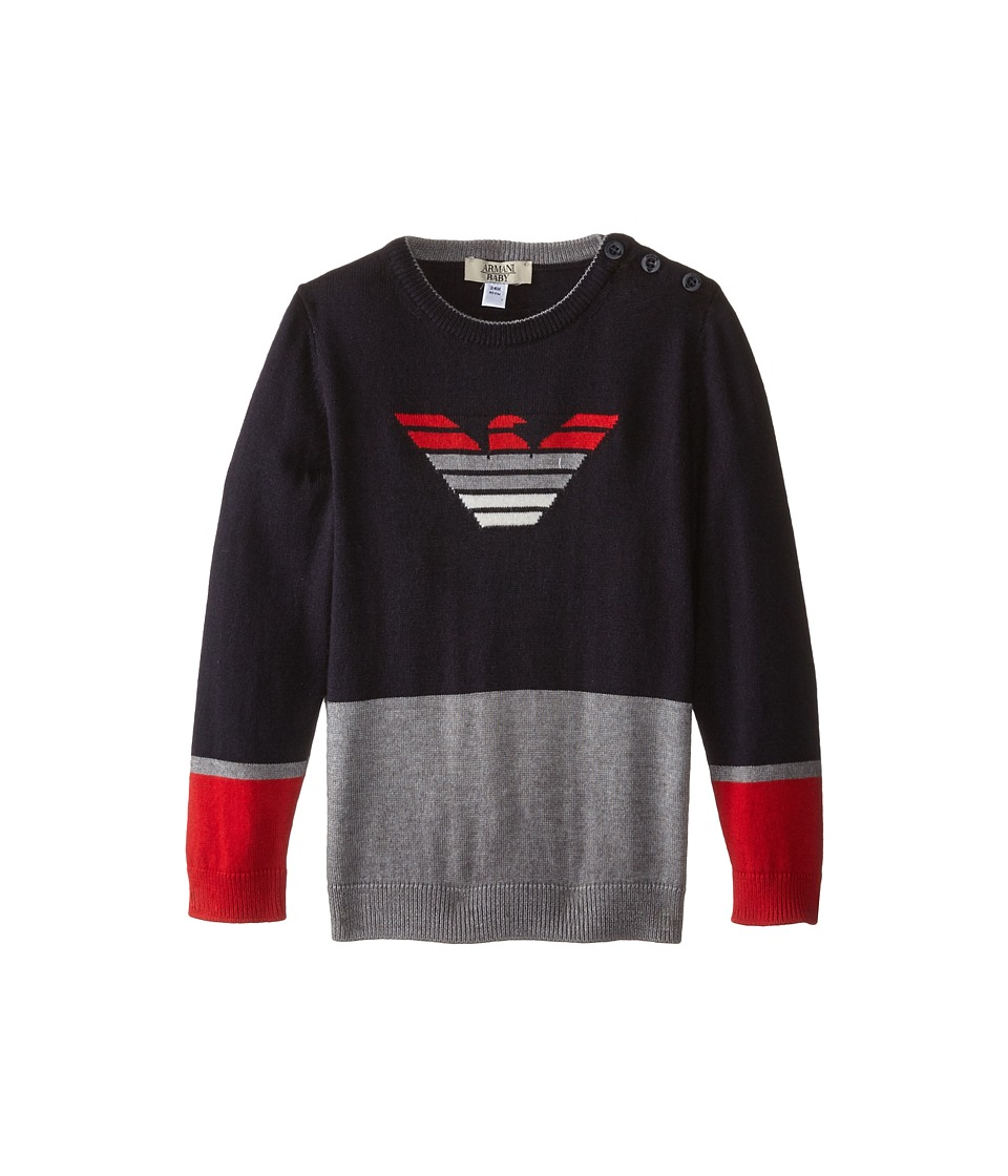 Armani Junior - Color Block Sweater w/ Ombre Logo (Infant) (Multi) Boy's Sweater