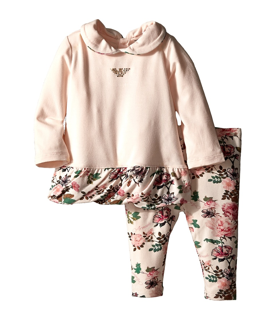 Armani Junior - Two-Piece Set: Peterpan Collar Flower Tunic w/ Floral Leggings (Infant) (Multi) Girl's Active Sets