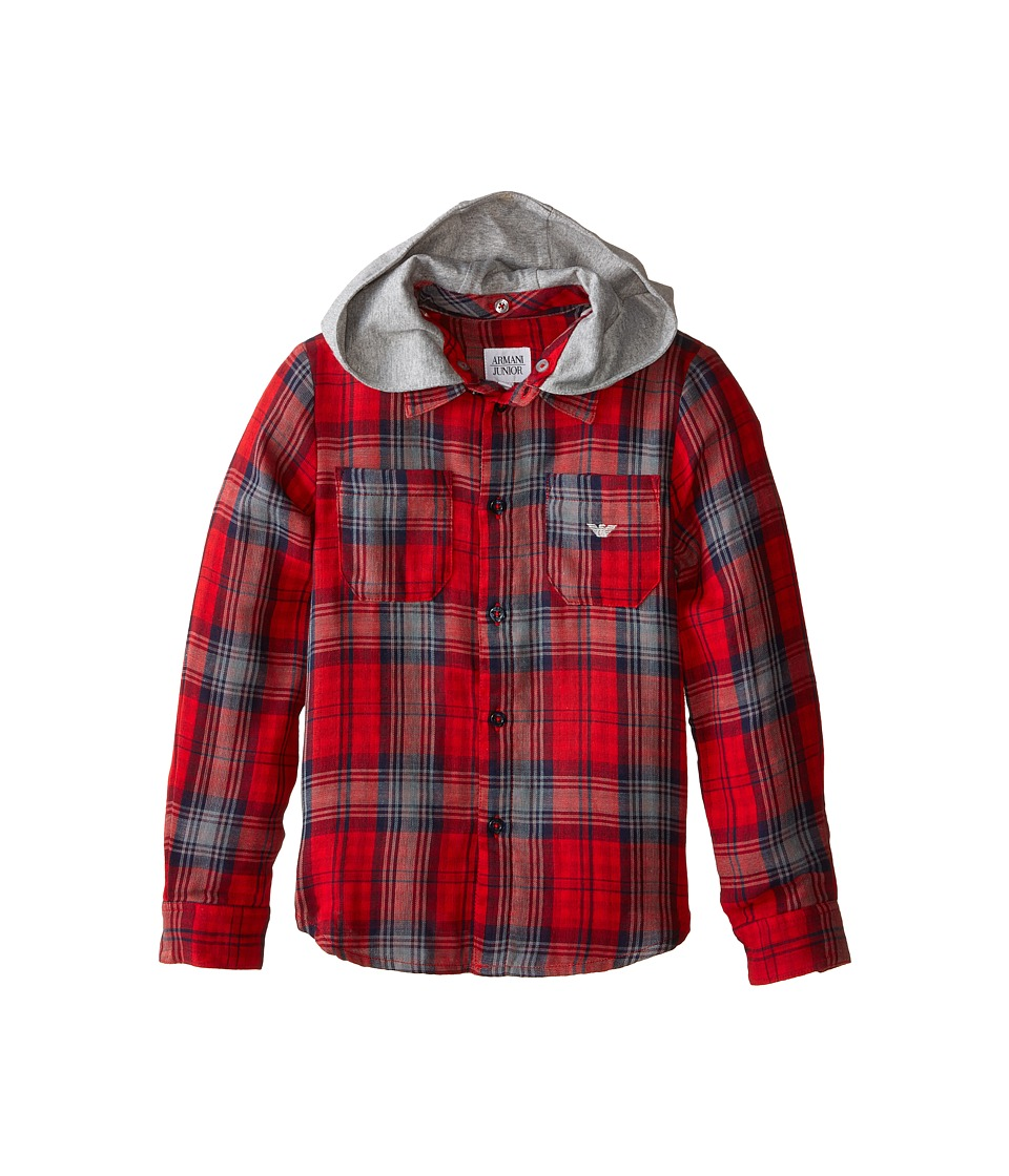 Image of Armani Junior - All Over Plaid Button Down w/ Removeable Hood (Toddler/Little Kids/Big Kids) (Multi Check) Boy's Clothing