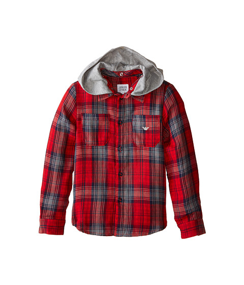 Armani Junior - All Over Plaid Button Down w/ Removeable Hood (Toddler/Little Kids/Big Kids) (Multi Check) Boy