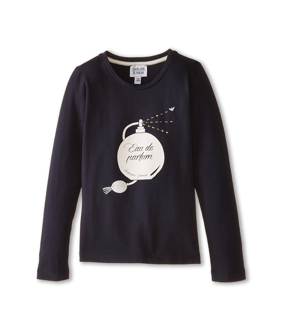 Armani Junior - Long Sleeve Perfume Tee (Toddler/Little Kids/Big Kids) (Indigo) Girl's T Shirt