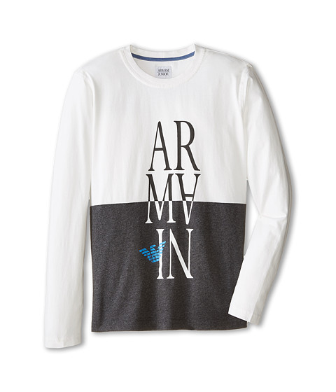 Armani Junior - Color Block Long Sleeve Tee w/ Upside Down Armani (Big Kids) (Multi) Boy