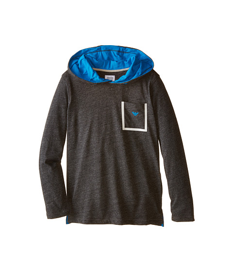 Armani Junior - Hooded Long Sleeve Melange Tee w/ Detail (Big Kids) (Soft Black) Boy