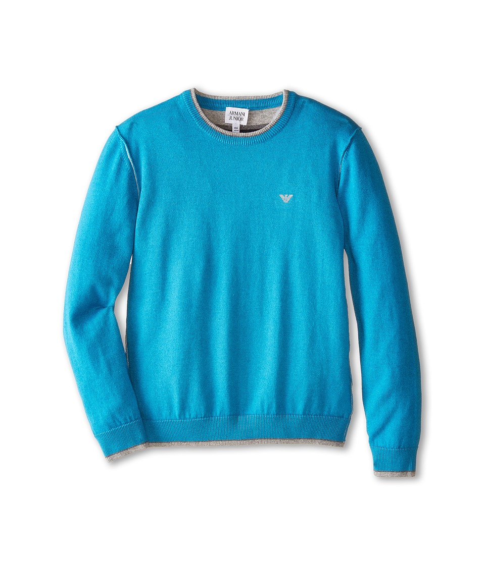 Armani Junior - Crew Neck Sweater w/ Trim (Big Kids) (Turquoise) Boy's Sweater