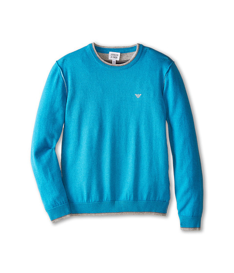 Armani Junior - Crew Neck Sweater w/ Trim (Big Kids) (Turquoise) Boy