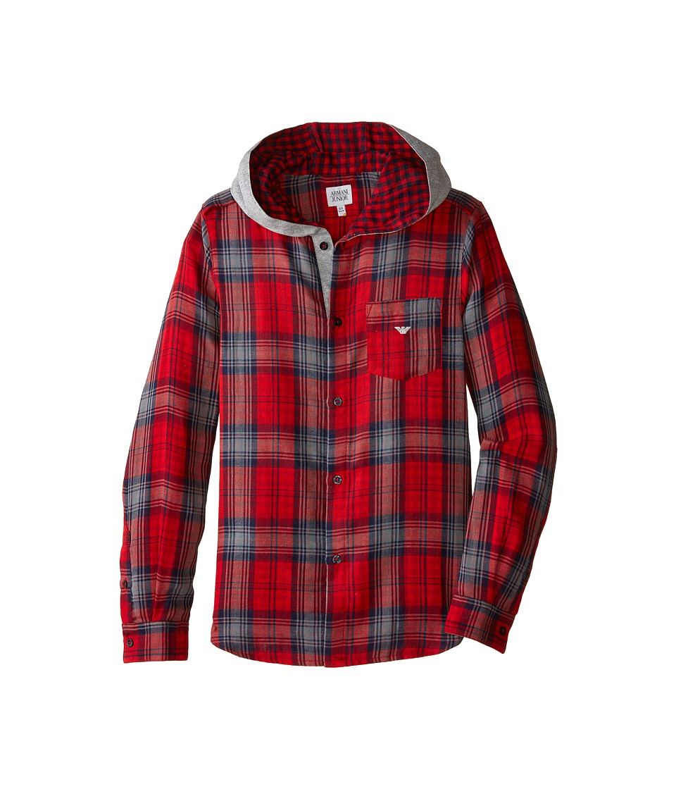 Image of Armani Junior - All Over Plaid Hooded Button Down (Big Kids) (Plaid Multi) Boy's Clothing