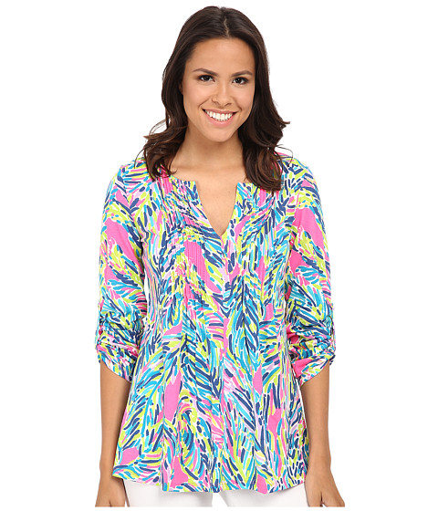 Lilly Pulitzer - Braylen Tab Sleeve Top (Multi Palm Reader) Women's Long Sleeve Pullover