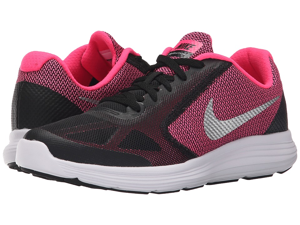 Nike Kids Revolution 3 (Big Kid) (Black/Hyper Pink/White/Metallic Silver) Girls Shoes