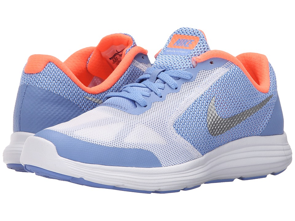 Nike Kids - Revolution 3 (Big Kid) (Chalk Blue/Bright Mango/White/Metallic Silver) Girls Shoes