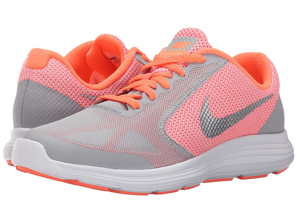 Nike Kids - Revolution 3 (Big Kid) (Bright Mango/Wolf Grey/White/Metallic Silver) Girls Shoes