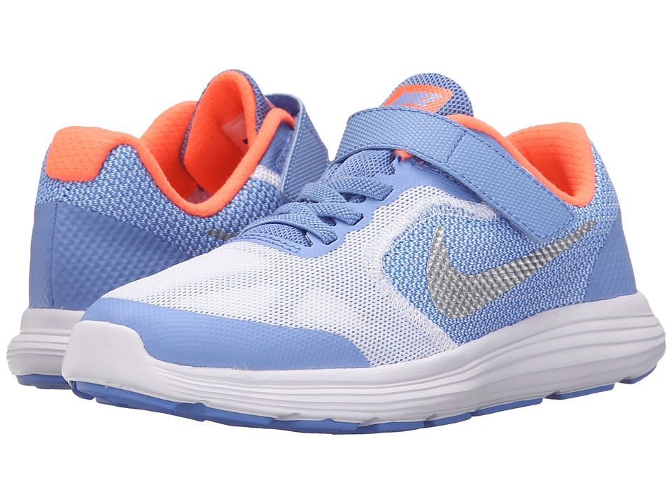 Nike Kids - Revolution 3 (Little Kid) (Chalk Blue/Bright Mango/White/Metallic Silver) Girls Shoes