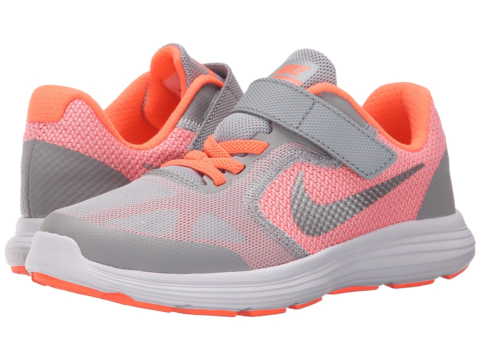 Nike Kids - Revolution 3 (Little Kid) (Bright Mango/Wolf Grey/White/Metallic Silver) Girls Shoes