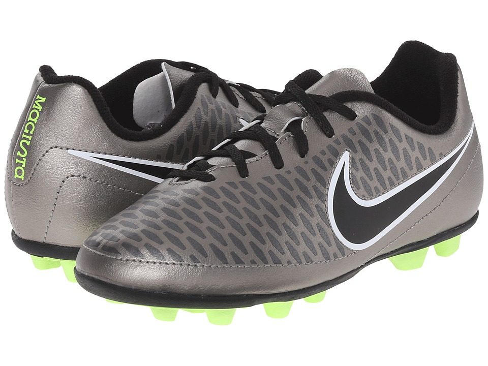 Nike Kids - Jr Magista Ola FG-R Soccer (Little Kid/Big Kid) (Metallic Pewter/Ghost Green/Black) Kids Shoes