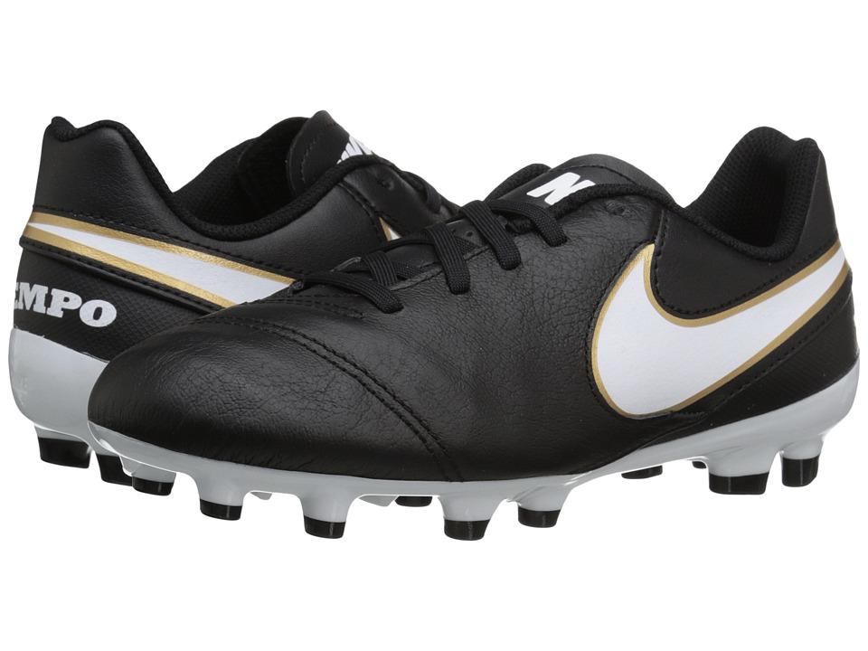 Nike Kids - Jr Tiempo Legend VI FG Soccer (Toddler/Little Kid/Big Kid) (Black/White) Kids Shoes
