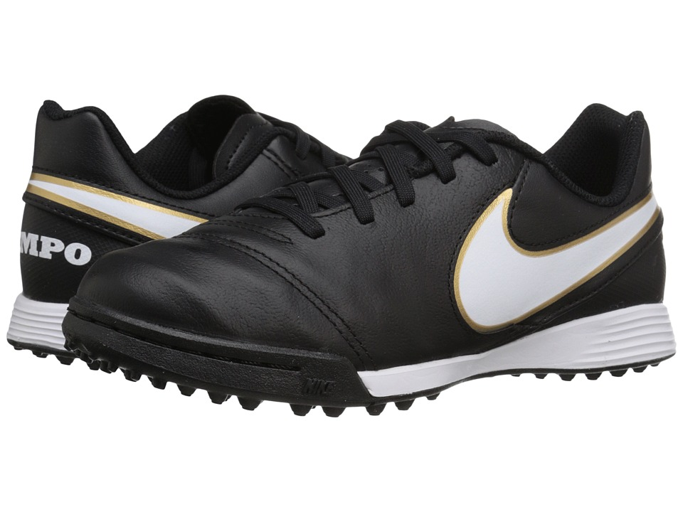 Nike Kids - Jr Tiempo Legend VI TF Soccer (Toddler/Little Kid/Big Kid) (Black/White) Kids Shoes