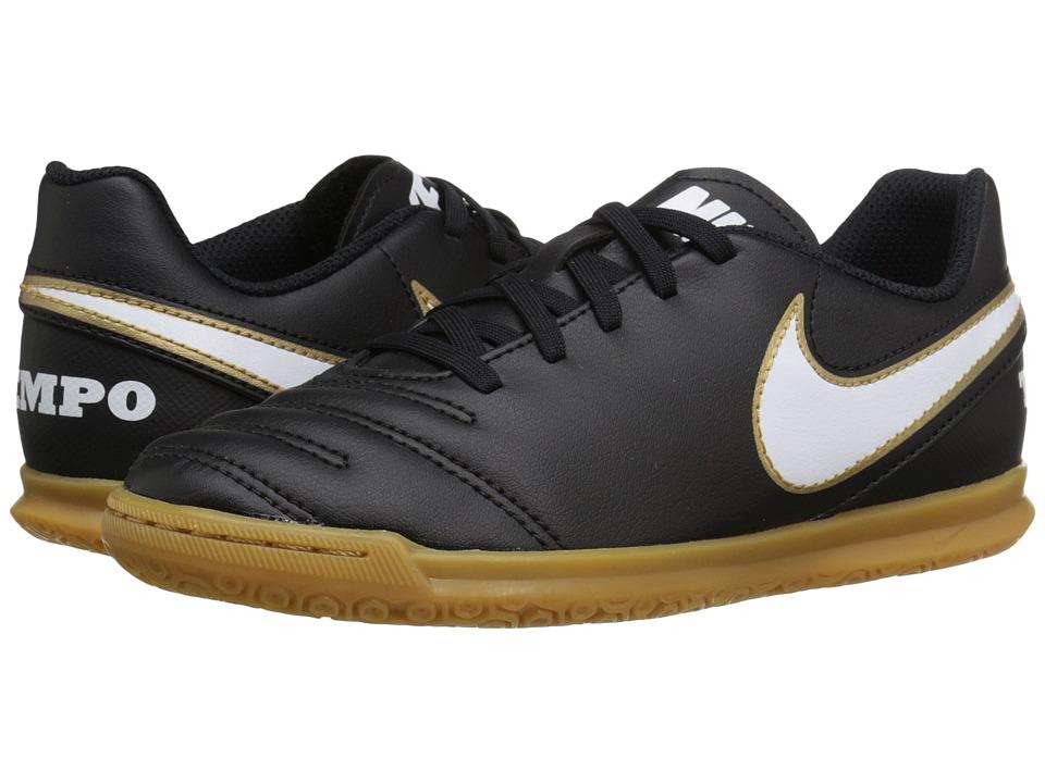 Nike Kids - Jr Tiempo Rio III IC Soccer (Little Kid/Big Kid) (Black/White) Kids Shoes