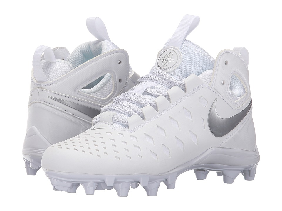 Nike Kids - Huarache V Lax BG Lacrosse (Little Kid/Big Kid) (White/Metallic Silver) Kids Shoes