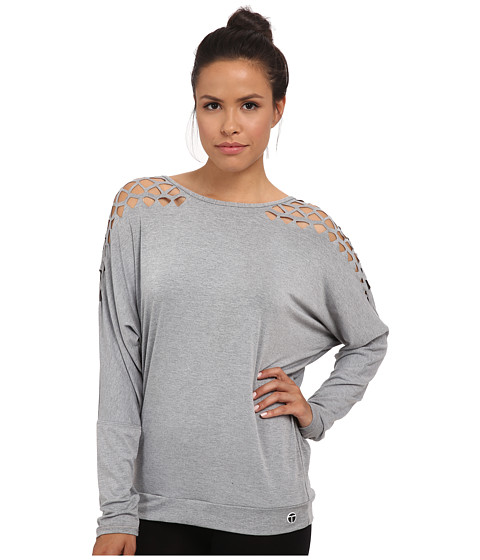 Trina Turk - Laser Cut Dolman Top (Heather Grey) Women's Long Sleeve Pullover