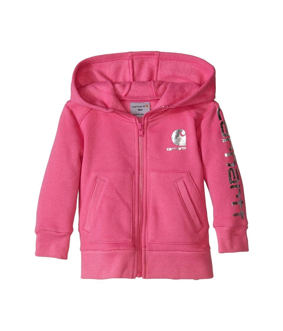 Carhartt Kids - Logo Zip Sweatshirt (Infant) (Phlox Pink) Girl's Sweatshirt