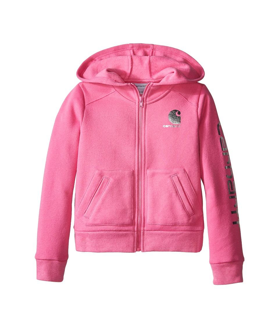 Carhartt Kids - Logo Zip Sweatshirt (Toddler) (Phlox Pink) Girl's Sweatshirt