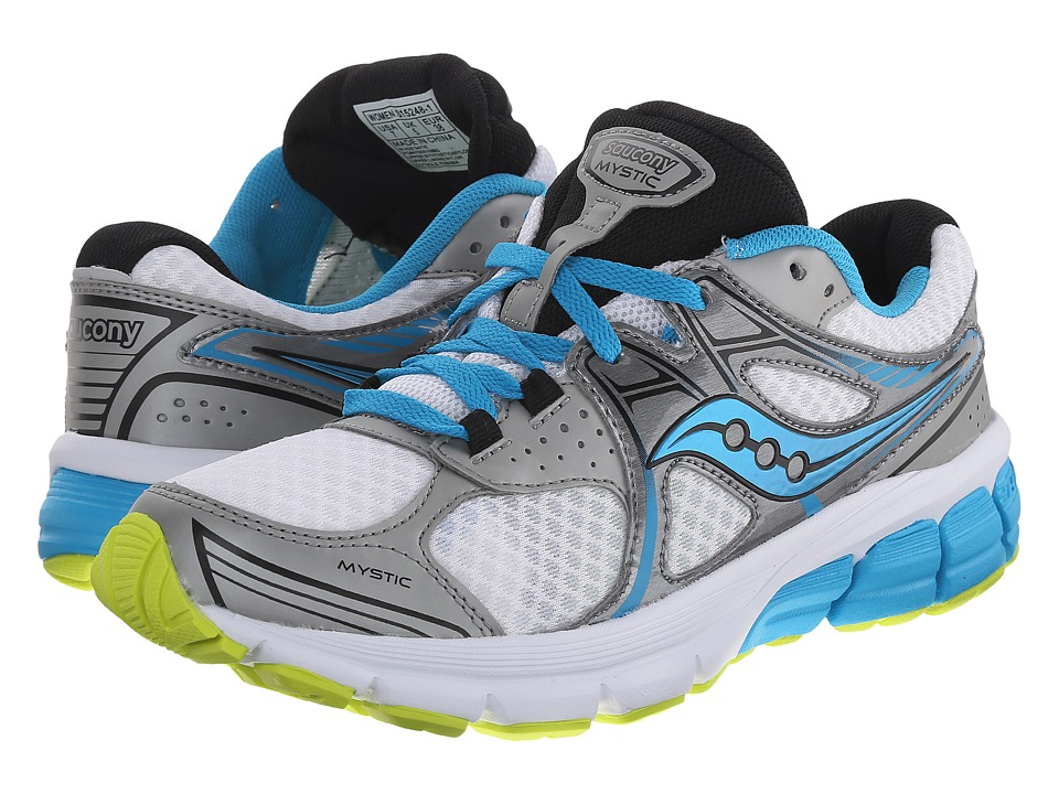 Saucony - Mystic (White/Blue/Citron) Women's Running Shoes