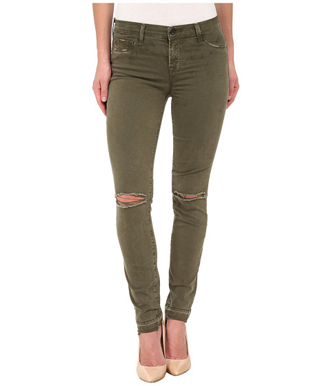 J Brand - Mid Rise Destructed Skinny Jeans in Jungle (Jungle) Women's Jeans