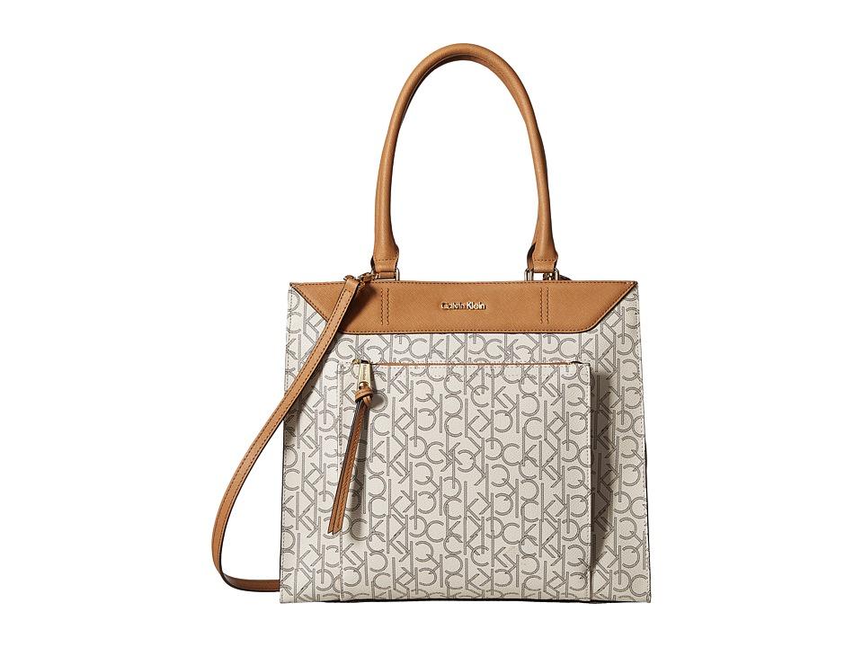 Calvin Klein - Logo Tote (Almond/Khaki/Cashew Saffiano) Tote Handbags