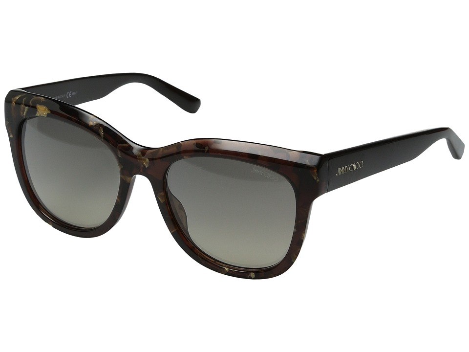 Jimmy Choo - Nuria/S (Brown Spotted/Brown Gold) Fashion Sunglasses