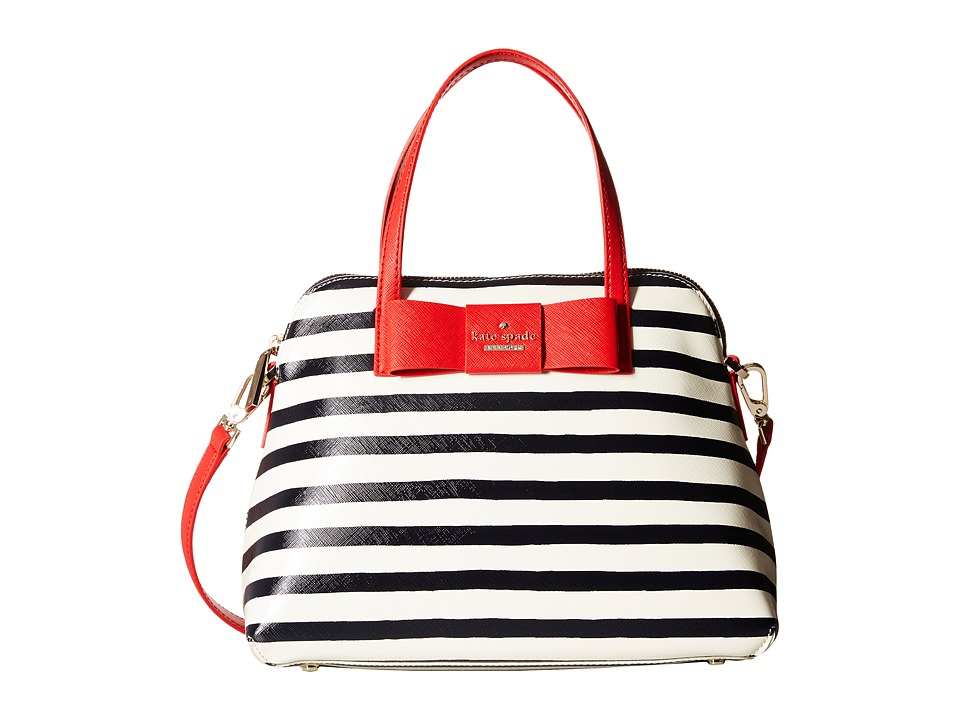Kate Spade New York - Julia Street Stripe Maise (Rich Navy/Cream) Satchel Handbags
