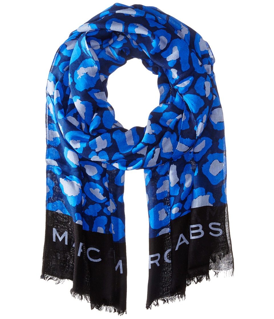Marc by Marc Jacobs - Painted Leopard Scarf (True Blue Multi) Scarves
