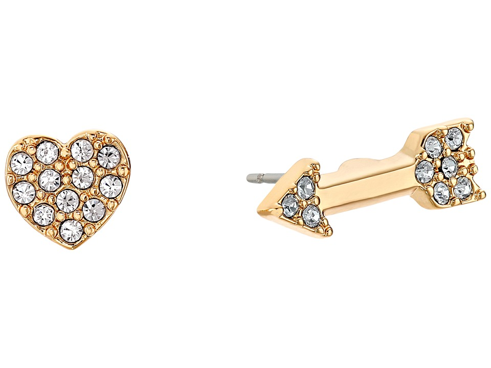 Kate Spade New York - Love List Heart and Arrow Studs Earrings (Clear) Earring