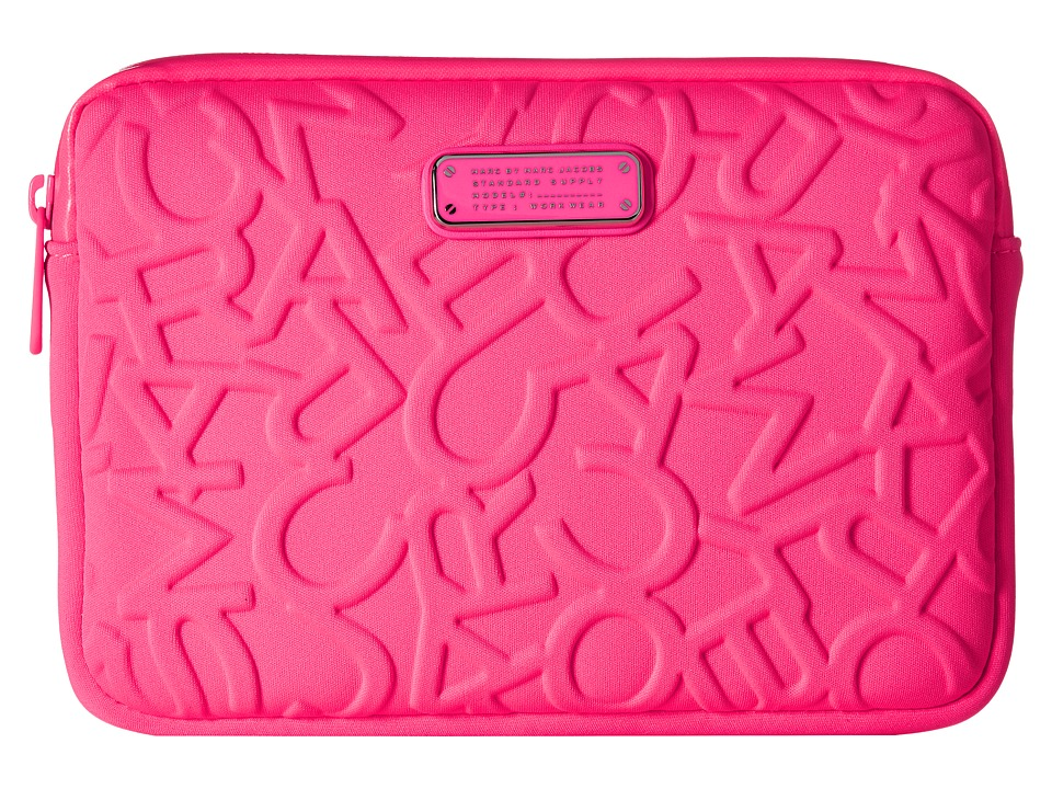 Marc by Marc Jacobs - Scrambled Logo Neoprene Tech Mini Tablet Case (Knockout Pink) Computer Bags