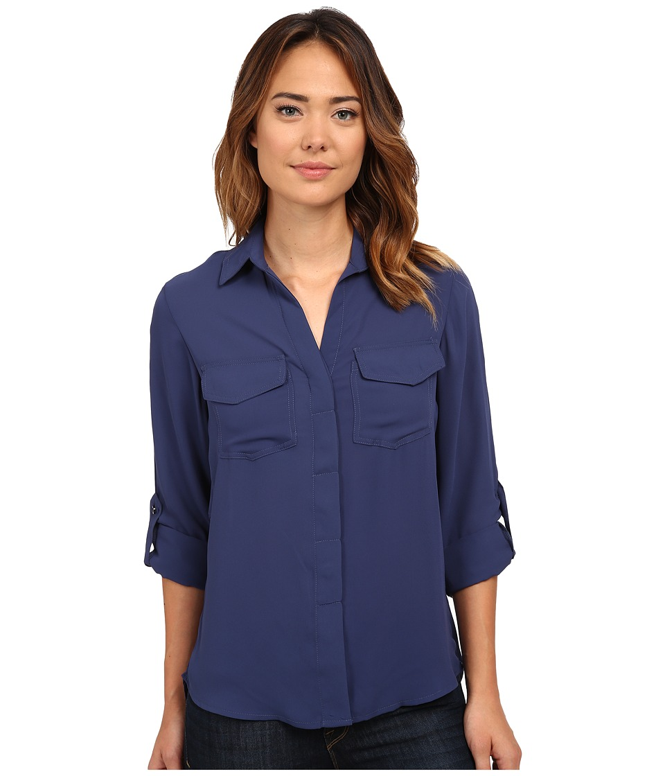 Sam Edelman - Zip Split Back Top (Navy) Women's Blouse