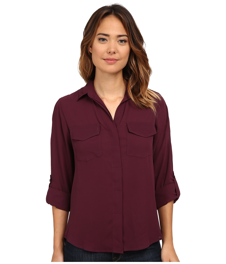 Sam Edelman - Zip Split Back Top (Deep Plum) Women's Blouse