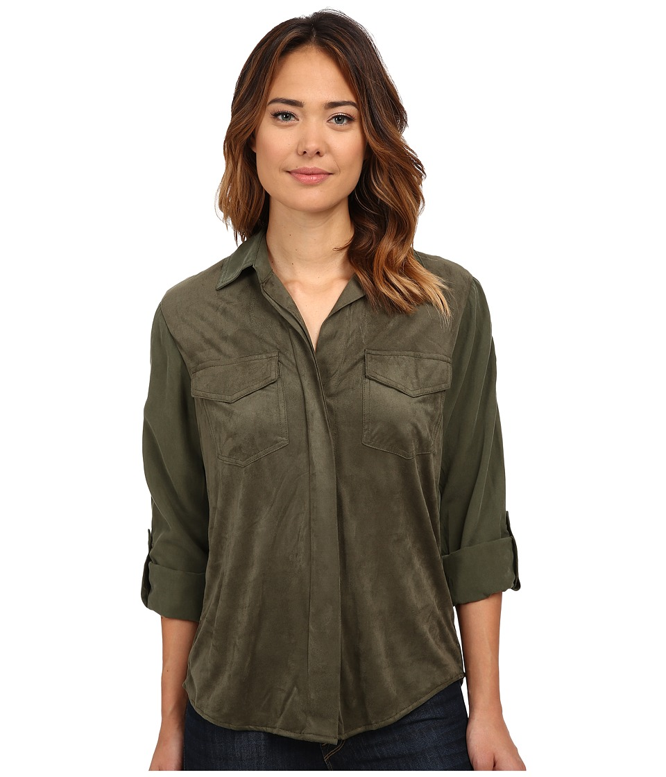 Sam Edelman - Lana Short Sleeve Top w/ Faux Suede (Olive) Women's Long Sleeve Button Up