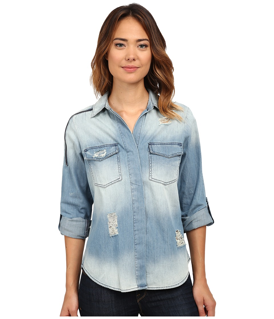 Sam Edelman - Split Back Blouse with Double Zip (Indigo) Women's Long Sleeve Button Up
